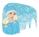 girl on winter landscape