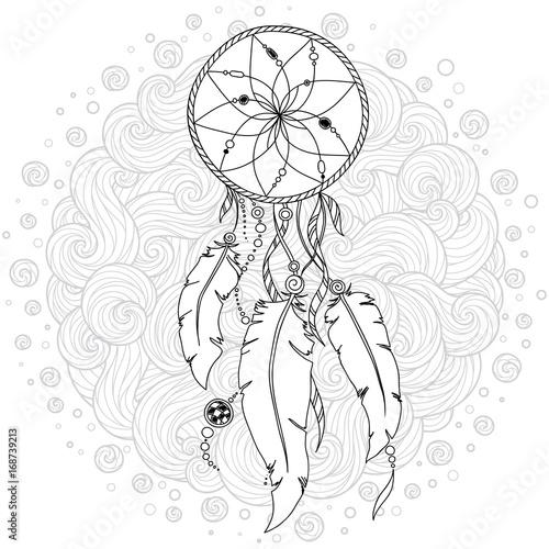 hand-gezeichneter-einfarbiger-dreamcatcher-lokalisiert-auf-weisem-hintergrund