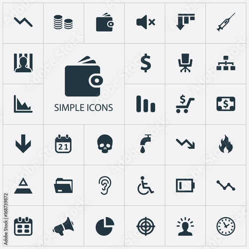 Vector Illustration Set Of Simple Situation Icons Elements Innovation Injection Reminder And Other
