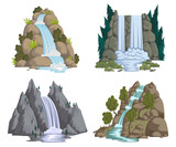 Fototapety Waterfalls set. Cartoon landscapes with mountains and trees. Vector illustration