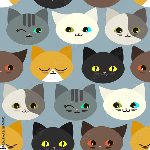 obraz lub plakat Seamless pattern with funny cats