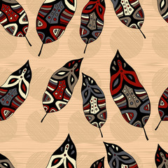 Seamless vector background with decorative feathers. Cloth design, wallpaper. Textile rapport.