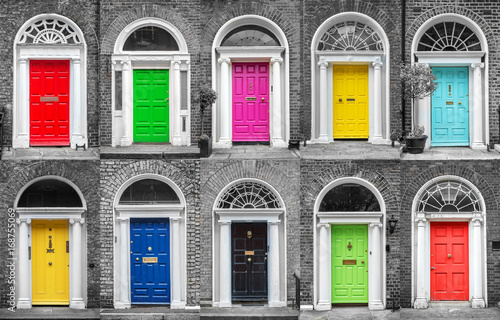Colorful collection of doors in Dublin, Ireland Poster