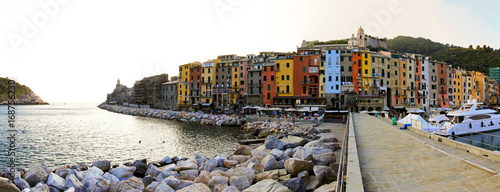 Foto op Canvas Liguria Portovenere houses evening panorama