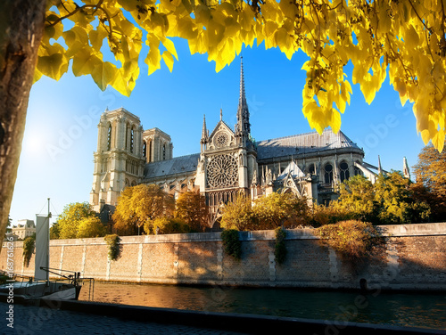Poster Famous Notre Dame in autumn