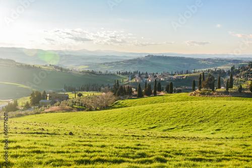 Aluminium Blauwe hemel Spring landscape in the hills of Tuscany Italy, land of Brunello wine
