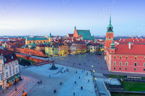 beautiful panorama of old town in Warsaw at dusk, Poland