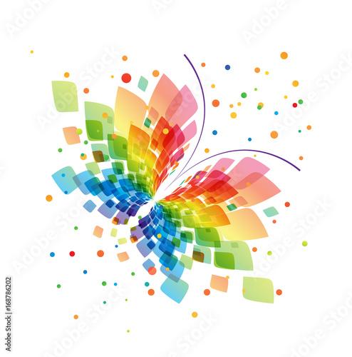 Deurstickers Vlinders in Grunge Splash butterfly on white background