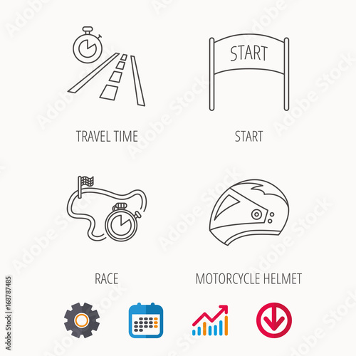 Tuinposter F1 Motorcycle helmet, race timer and travel time.