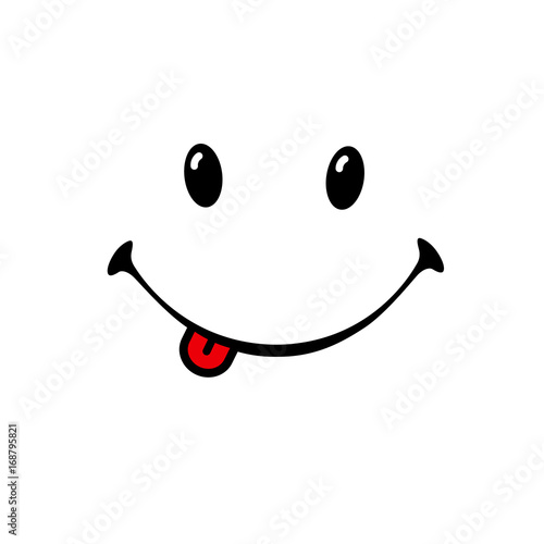 Smile emotion icon on white background. Vector smiling with tongue on white background. World Smile Day banner