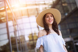 Picture of beautiful smiling girl wearing hat