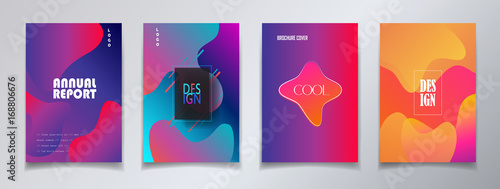 Modern brochure covers set, futuristic design. Abstract Diffuse colored spots dynamic background. Vector template minimalist poster - 168806676