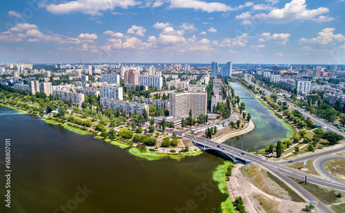 Foto op Plexiglas Kiev Aerial view of Rusanivka district of Kyiv, Ukraine
