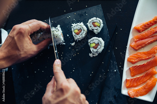 Sushi Being Cut Poster