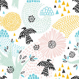 Seamless floral pattern with birds - 168814884