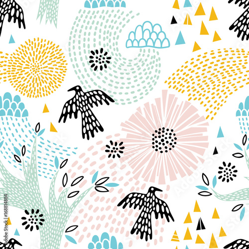 Cotton fabric Seamless floral pattern with birds