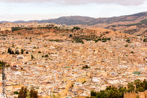 Poster Panorama of Fez, the second largest city of Morocco. Fez was the capital city of modern Morocco until 1925 and