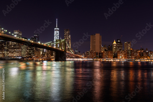 Foto op Plexiglas Brooklyn Bridge Brooklyn Bridge by night