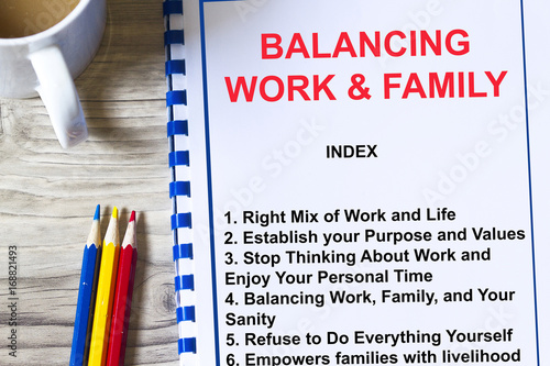Balancing work and family concept- Poster