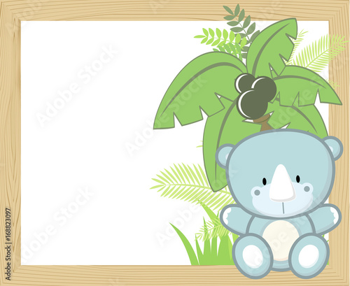Plexiglas Zoo cute baby rhino with tropical leaves and palm tree on empty wood frame for copy space, ideal for nursery art decoration or scrapbooking projects