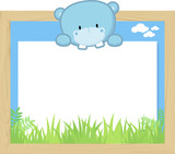 wood frame with cute baby hippo and blank board for copy space, design for children - 168823627