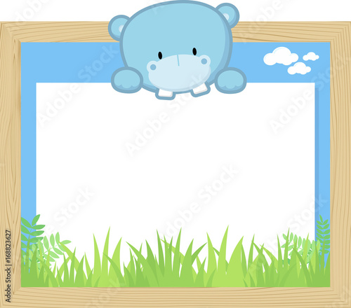 Fotobehang Zoo wood frame with cute baby hippo and blank board for copy space, design for children