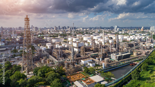 Wall mural Aerial view of Oil and gas industry - refinery, Shot from drone of Oil refinery and Petrochemical plant, Bangkok, Thailand