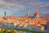 Beautiful landscape above, panorama on historical view of the Florence from  Piazzale Michelangelo point. Morning time. - 168831445