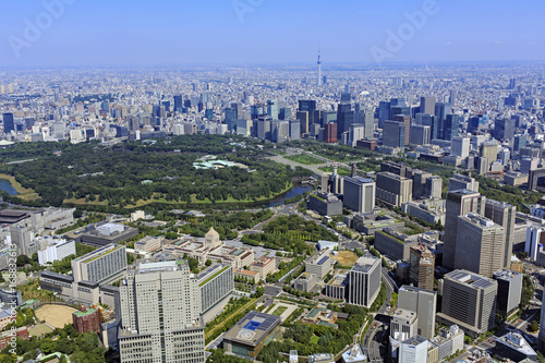 Aluminium Tokio 永田町上空/官庁街、政治、経済,空撮