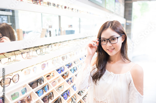Poster beauty woman wear eyeglasses