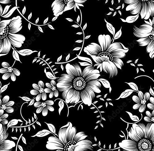 Fototapeta black white flowers