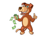 Furious Tricky Dog with Money in Hand