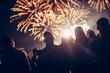 Leinwanddruck Bild - Crowd watching fireworks
