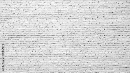 Foto op Plexiglas Wand Brick wall painted with white paint.