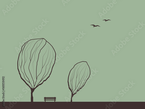 Fotobehang Olijf Autumn background with trees in wind. Melancholic emotion symbol vector wallpaper. Birds flying in the sky.