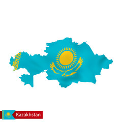 Kazakhstan map with waving flag of country.