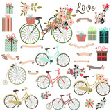 Big cute collection of save the date elements or valentine with bicycle and flowers - 168872244