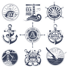 Badges  A General Theme Of The Sea  The Image Of A Wash Gulls Steering Wheel Anchors For Your Design Printing Print On The Tshirt And The Internet Sticker
