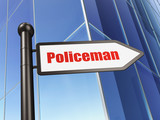 Law concept: sign Policeman on Building background - 168875842
