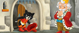 cartoon scene with cat welcoming prince or king in front of castle gate - illustration for children