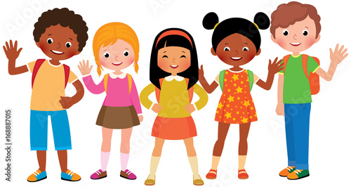 Stock Vector cartoon illustration of a group of children students - 168887015