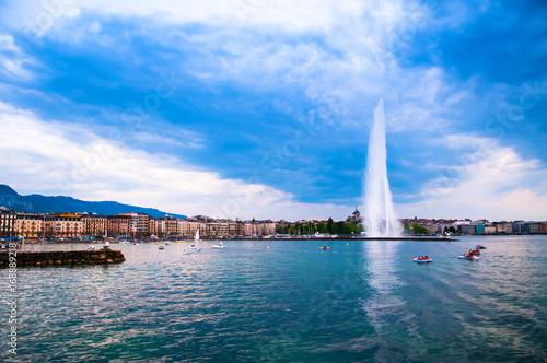 Jet d'eau foutain, the symbol of Geneva, Switzerland