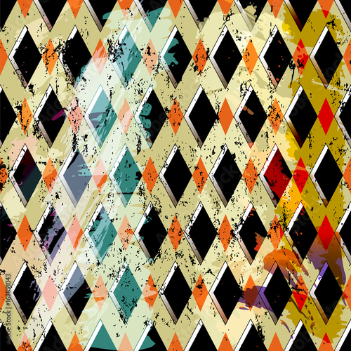 Aluminium Abstract met Penseelstreken abstract pattern background, with strokes, splashes and rectangles