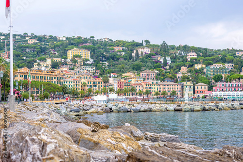 Beautiful daylight view to water and Santa Margherita Ligure city Poster