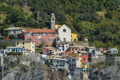 View at town Vernazza on Cinque Terre at Ligurian sea in Italy