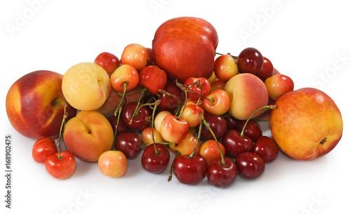 Fruit in basket in the garden closeup