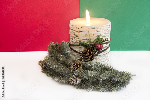 Flaming Christmas candle