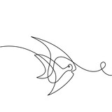 Continuous one line drawing. Exotic fish logo. Black and white vector illustration. Concept for logo, card, banner, poster, flyer - 168904012