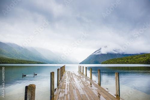 Fotobehang Pier Lake Rotoiti