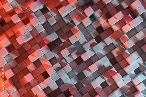 Abstract 3D Rendering Background With Red And Grey Cubes - 168907839